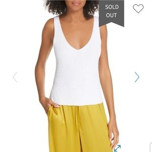 NEW Vince Directional Rib White Tank Top